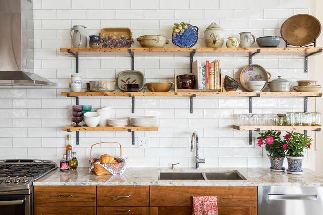 استفاده از شلف باز در تزیین آشپزخانه